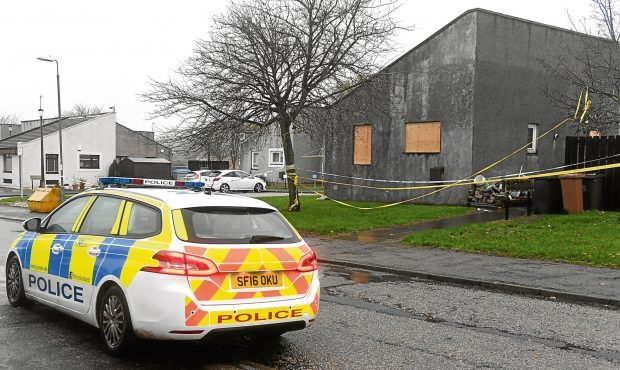 The aftermath of the fire at Derbeth Crescent, Sheddocksley Aberdeen