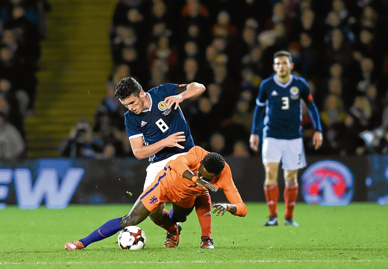 John McGinn in action against Holland.