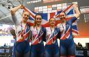 Emily Nelson, Elinor Barker, Neah Evans and Katie Archibald of Great Britain celebrate after winning the Women's Team Pursuit during the TISSOT UCI Track Cycling World Cup at National Cycling Centre on November 12, 2017 in Manchester, England.