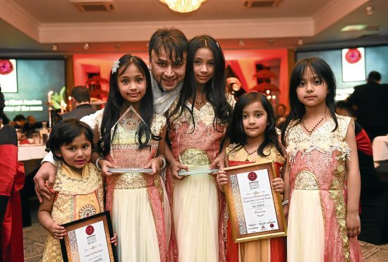 Aberdeen's Best Curry Awards 2017  Pictured is the winner of both The Socially Responsible Takeaway : NU Spice and The Chef of The Year: Indian on the Green. From left, Abdul Hamid with his daughters from left, Bushra, Hazera, Kolsuma, Jamila and Maryam.  Picture by DARRELL BENNS      Pictured on 07/02/2017