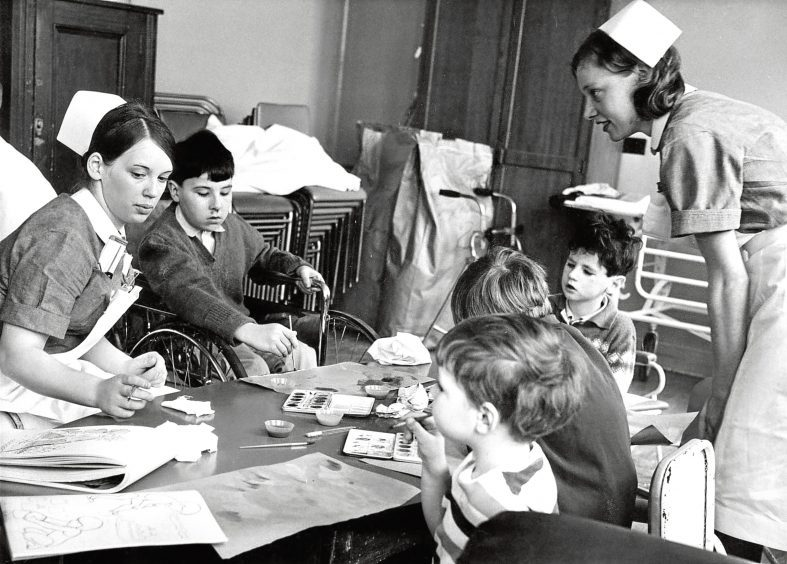 1969: Nurses and patients at Royal Aberdeen Children's Hospital.
