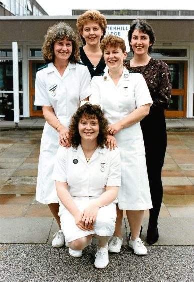 1991: Banff Training college nurses celebrate the completion of their training.