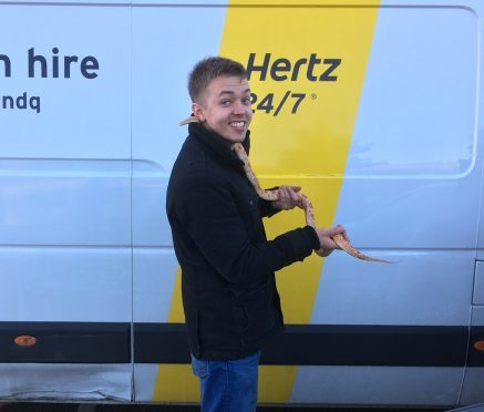 Gavin Burnett was reunited with his pet snake Mushu this afternoon.