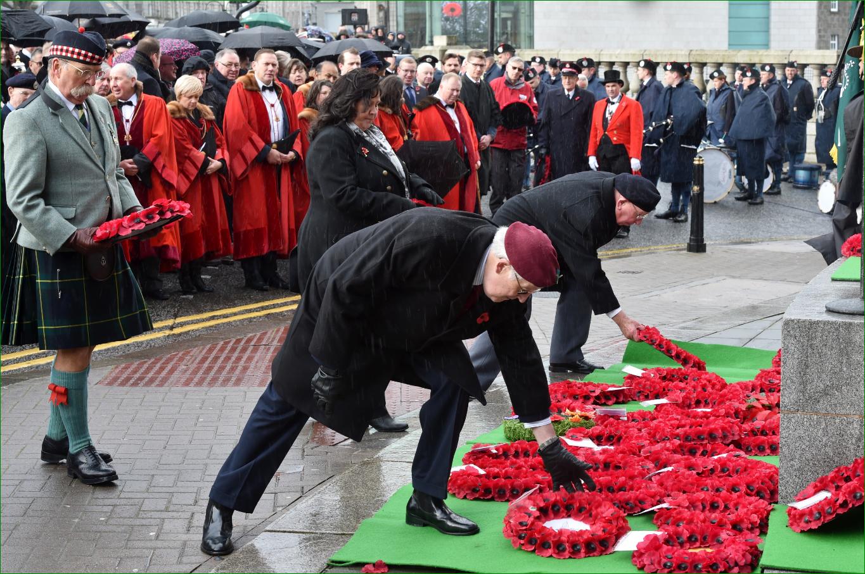 Wreaths being laid in Aberdeen.
