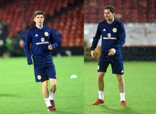 Ryan Christie, left, and Kenny McLean will start for Scotland tonight.  Picture by Darrell Benns