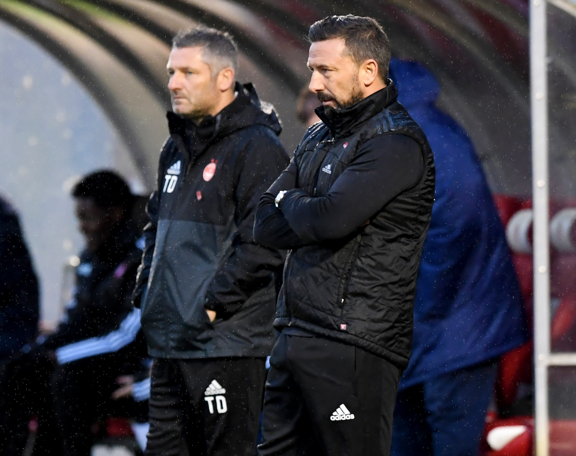 Aberdeen Manager Derek McInnes, right, and assistant Tony Docherty.