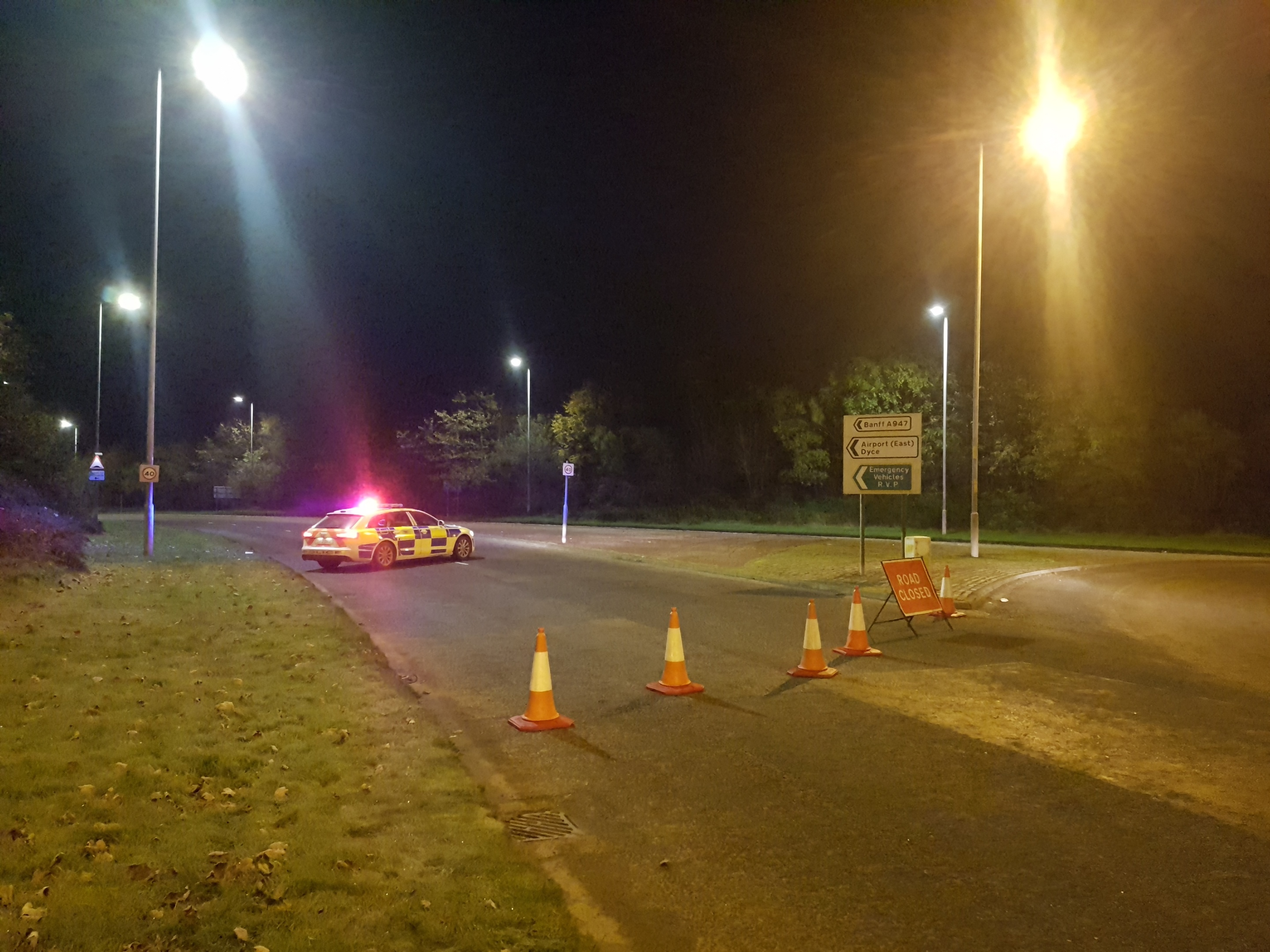 The incident happened at around 12.30am on the A947 between the Stoneywood roundabout and Mugiemoss Road