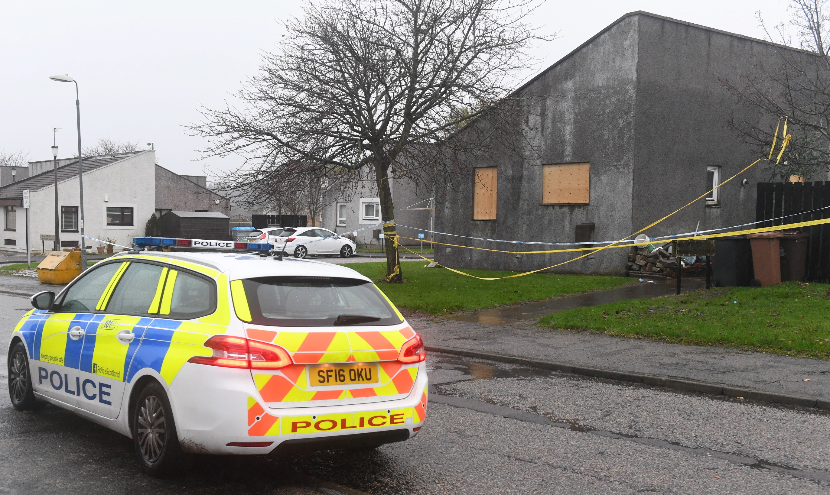 Picture from the aftermath of the fire at Derbeth Crescent, Sheddocksley Aberdeen.