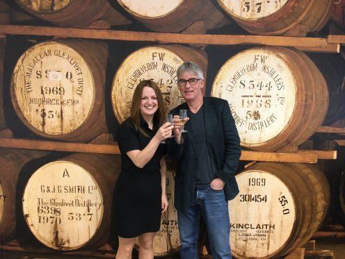 Runrig's Calum MacDonald, and Jemma Jamieson, Operations Manager of Duncan Taylor Scotch Whisky