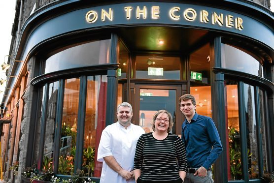Owner Nicky Turnbull with Cognito on the Corner head chef Graham Mutch and manager Paddy Mair.