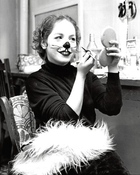 1978: Fiona Avenalle does her make up to play Tommy the cat in Dick Whittington.