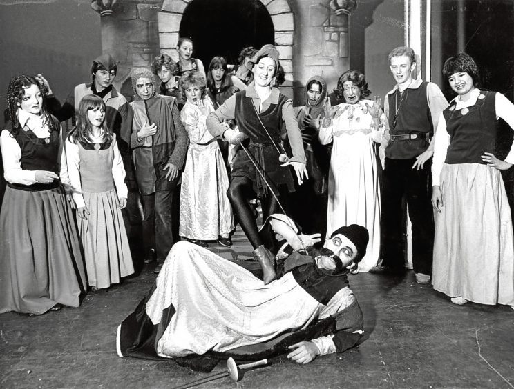 1981: Jill Hay as Robin Hood sorts out the nasty sheriff Donald Morrison in Babes in the Wood and Robin Hood.