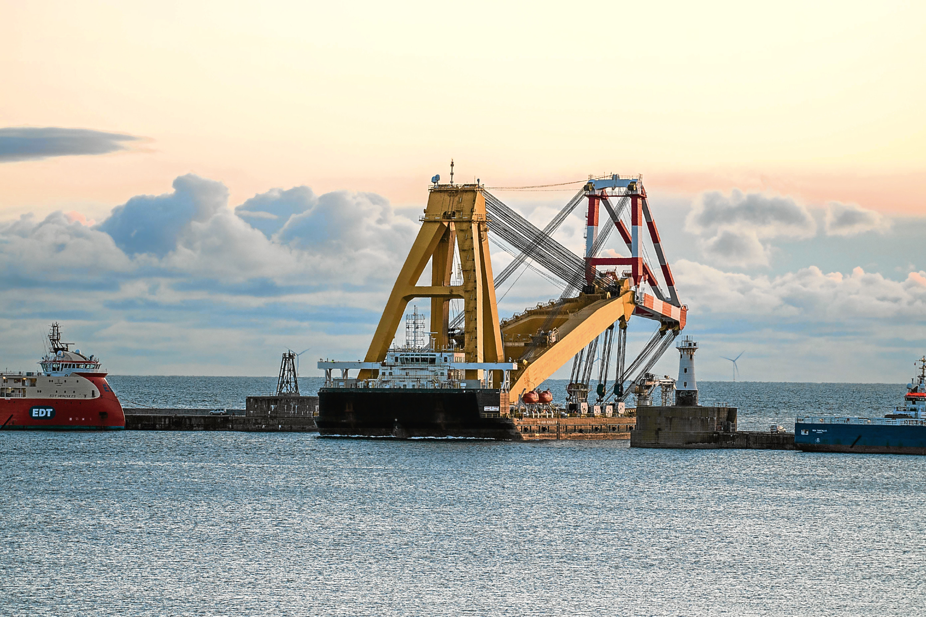 One of the world's largest and most versatile floating cranes arrived in Peterhead.