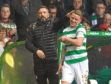 Derek McInnes with former Don Jonny Hayes at Parkhead.