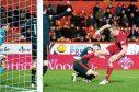 Aberdeen's Adam Rooney had this goal disallowed.