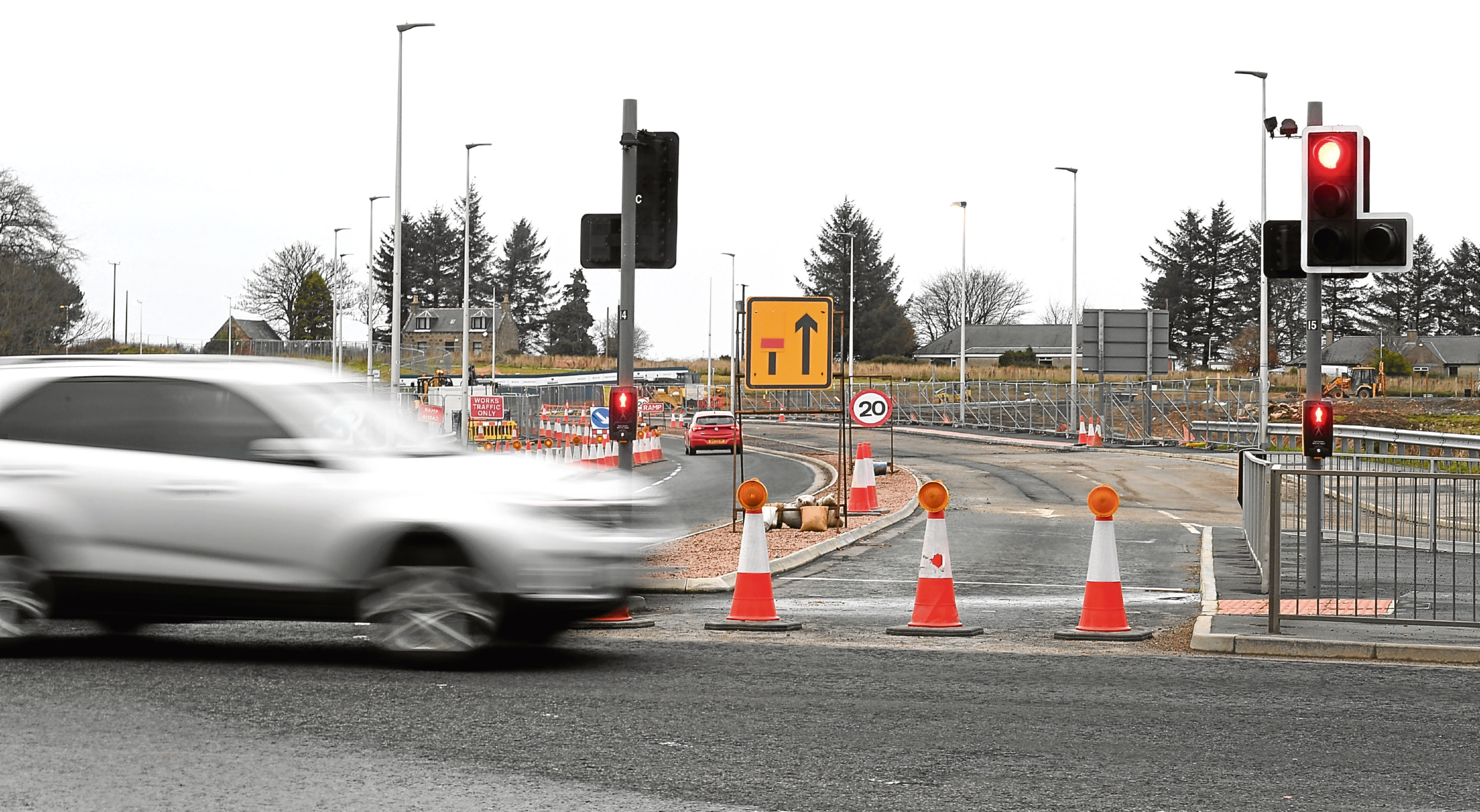 Roadworks on Dyce Drive at it's junction with the A96.