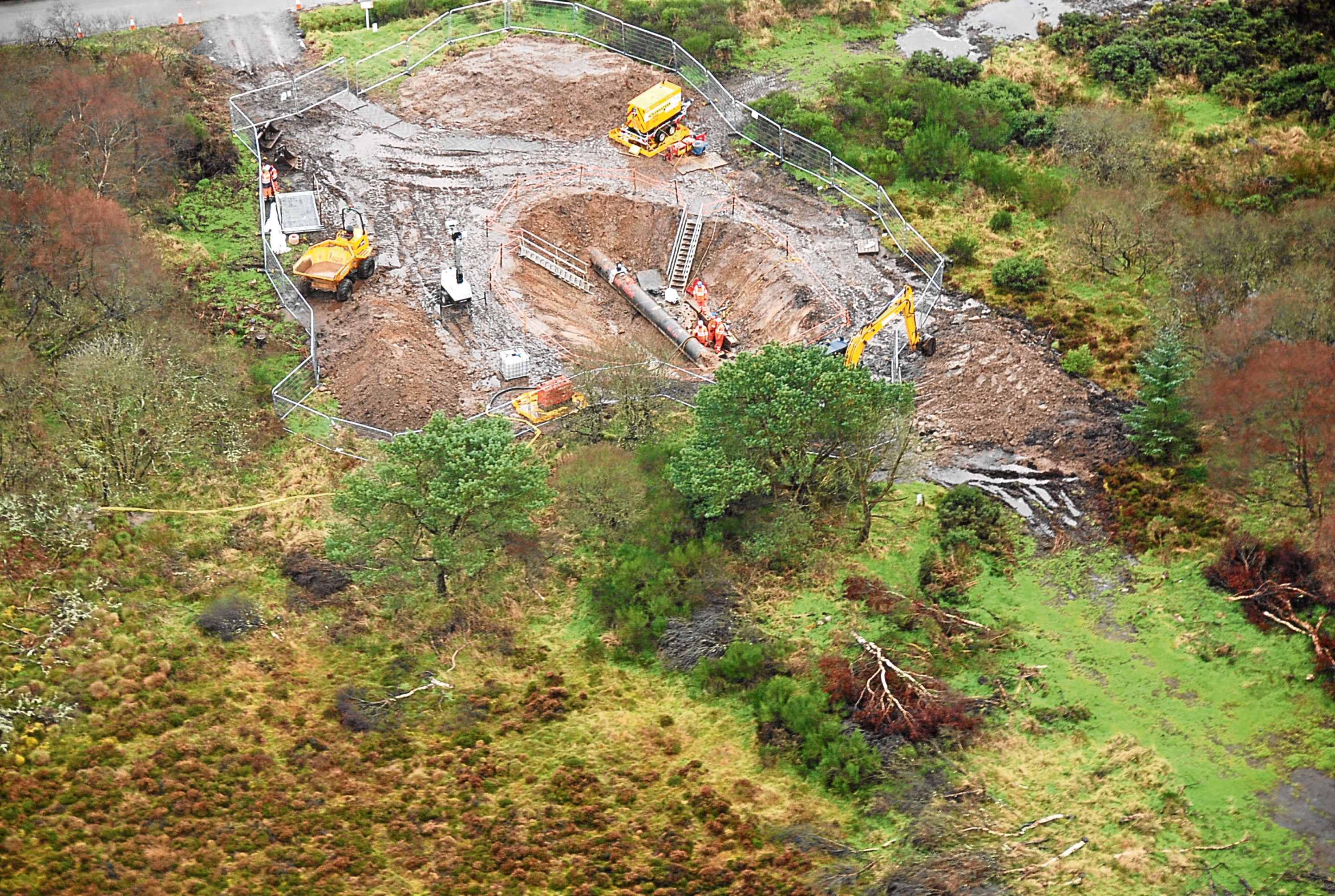 An aerial view of work to repair the Forties Pipeline.