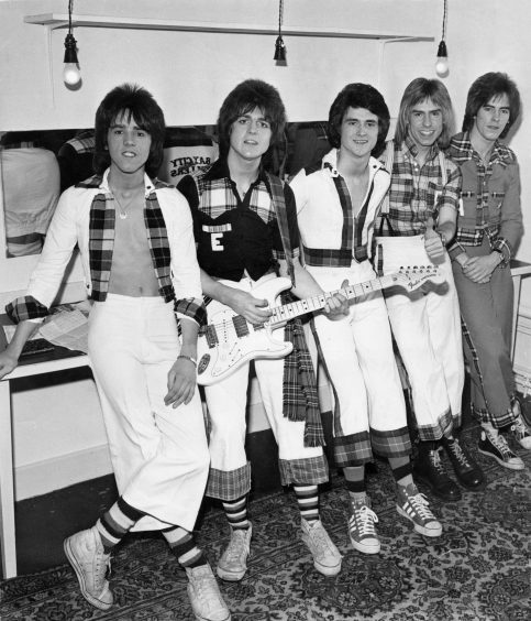 "1975: The Bay City Rollers backstage at the Capitol. Left to right, Stuart ""Woody"" Wood, Eric Faulkner, Leslie McKeown, Derek Longmuir and Alan Longmuir."