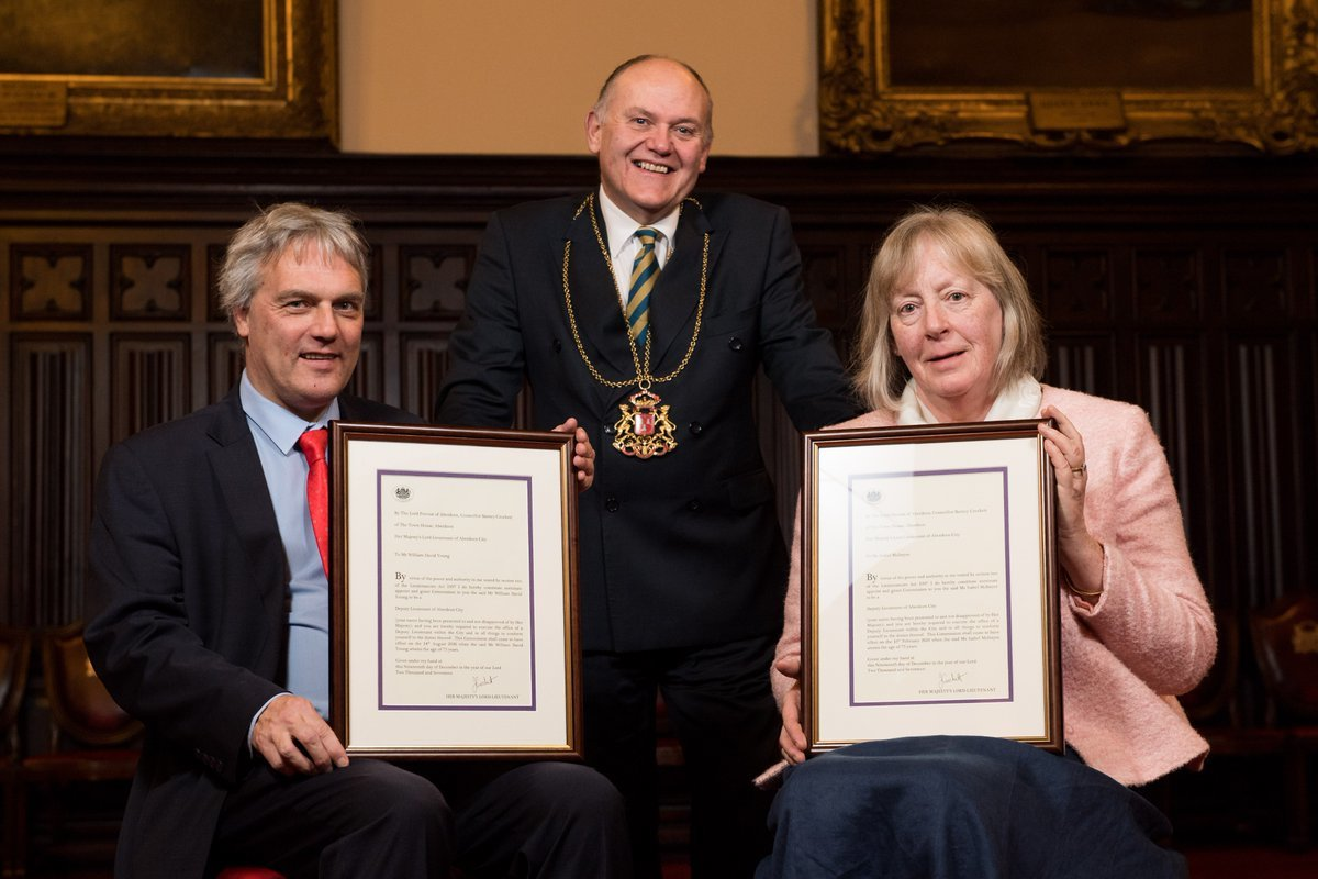 Willie Young and Isabel McIntyre with Lord Provost Barney Crockett.