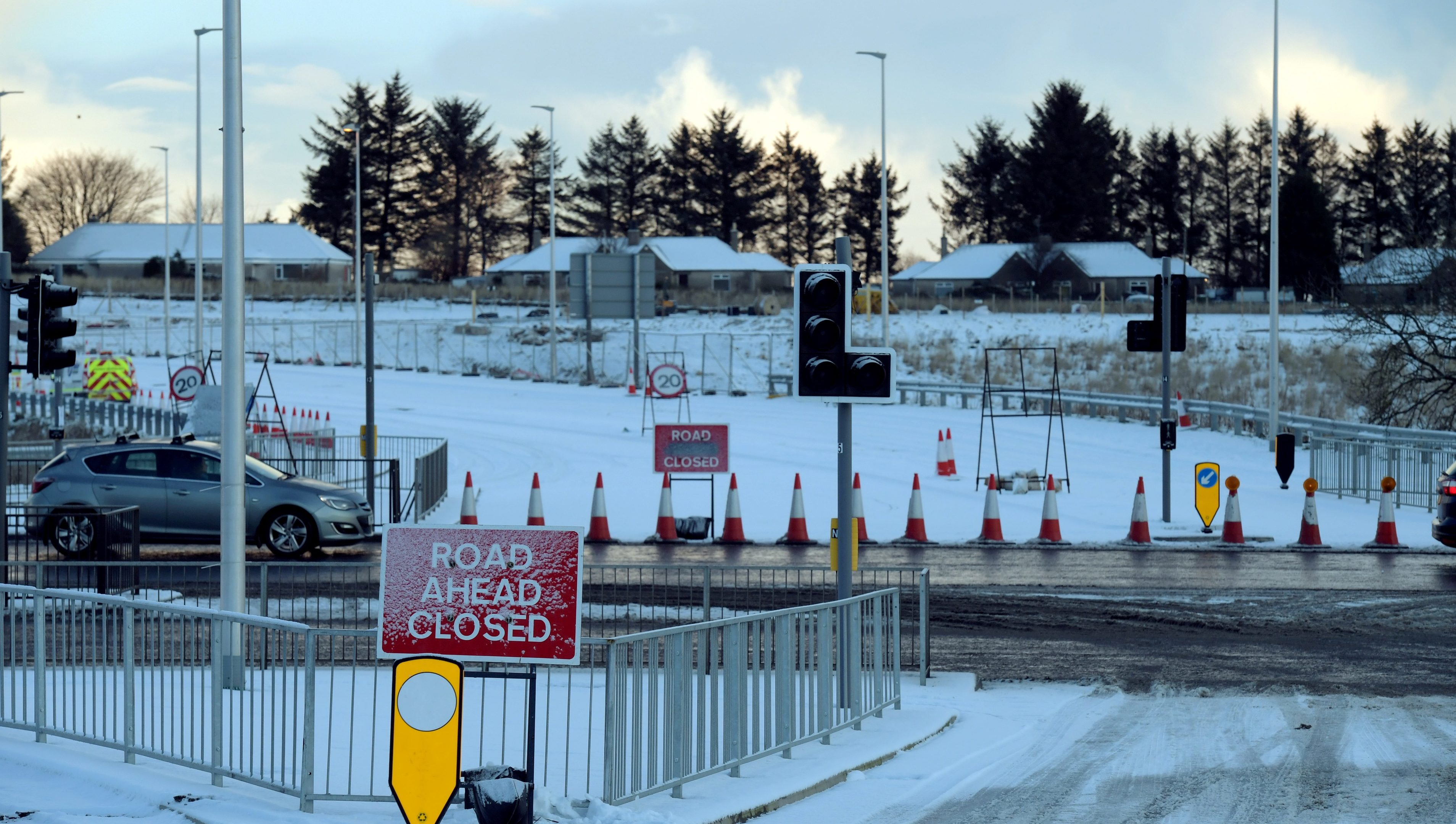 Dyce Drive in Aberdeen this morning