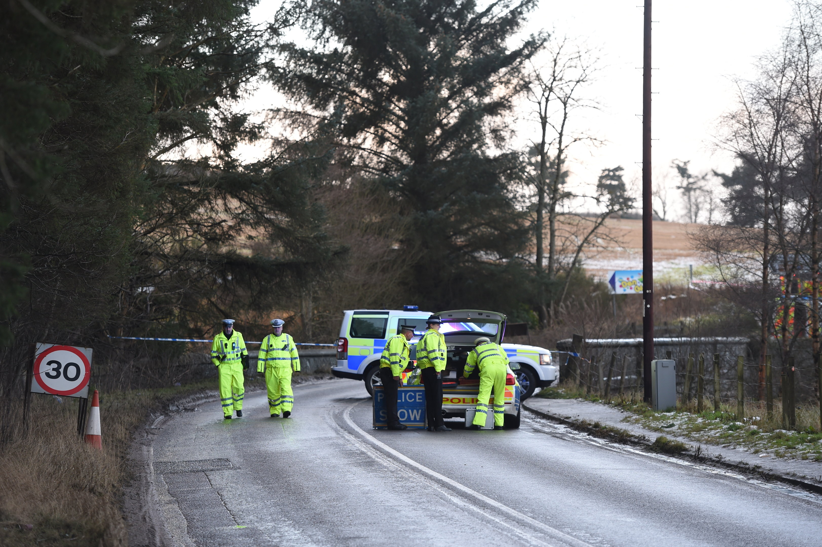 Police closed the road between Leggart Terrace and the B979 Netherley road.
