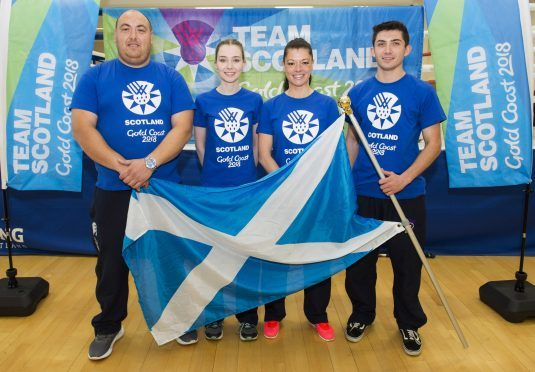 Some of the Scotland shooting team which will compete at the Gold Coast 2018 Commonwealth Games. Calum Fraser is left.