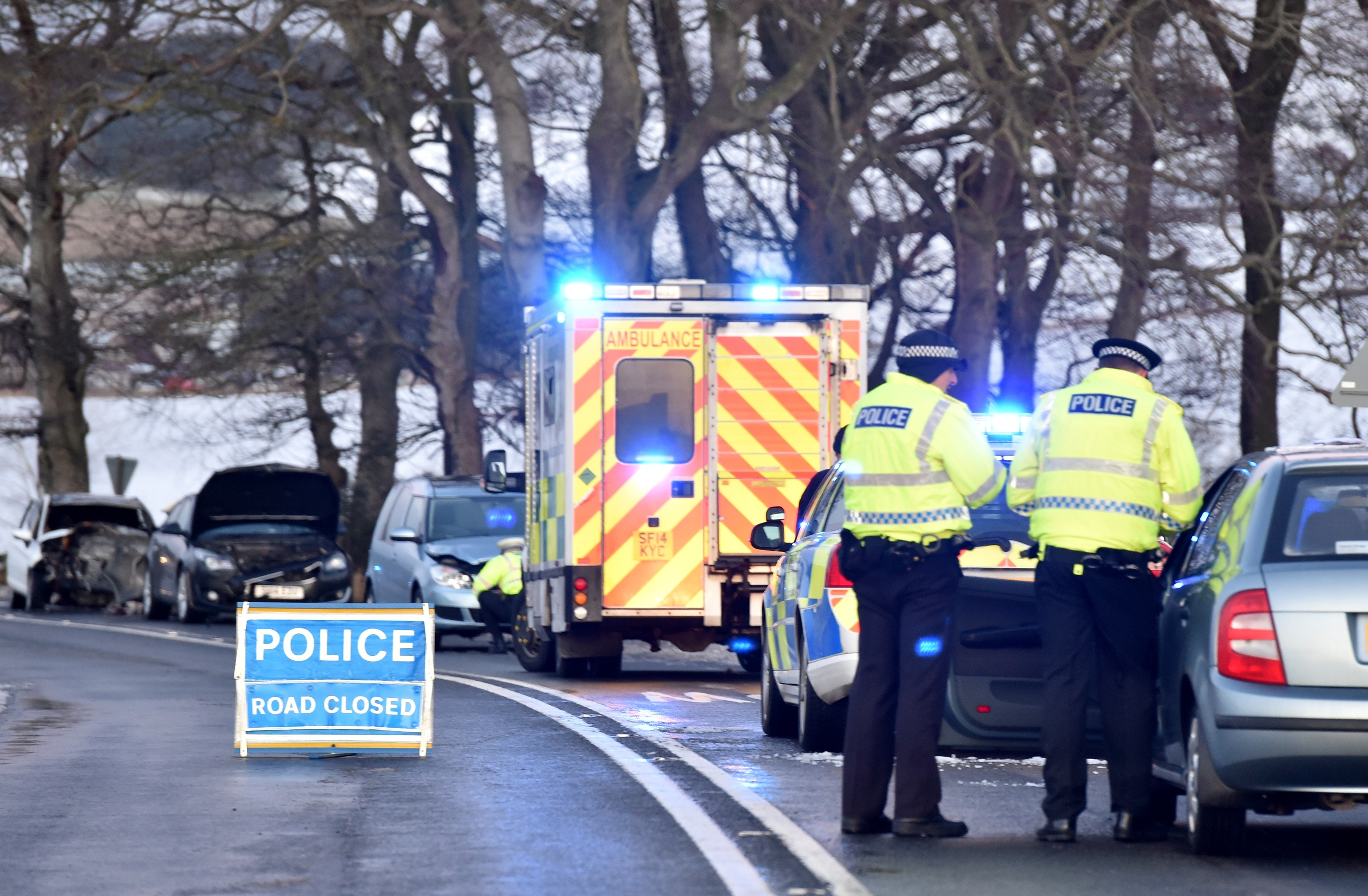 A woman was taken to hospital following a five-vehicle crash.