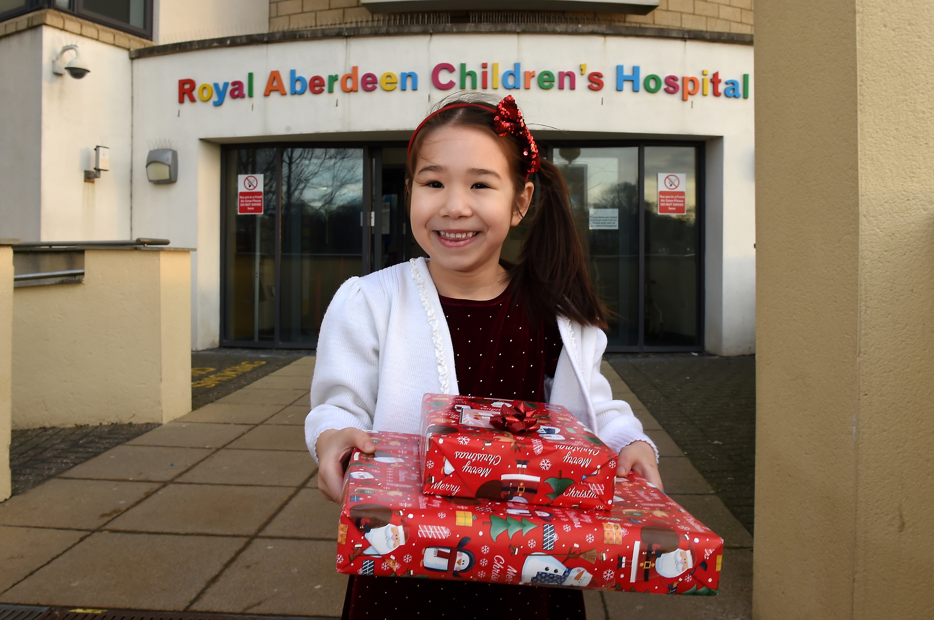 Jenny Cormack, 6, at Royal Aberdeen Children's Hospital.