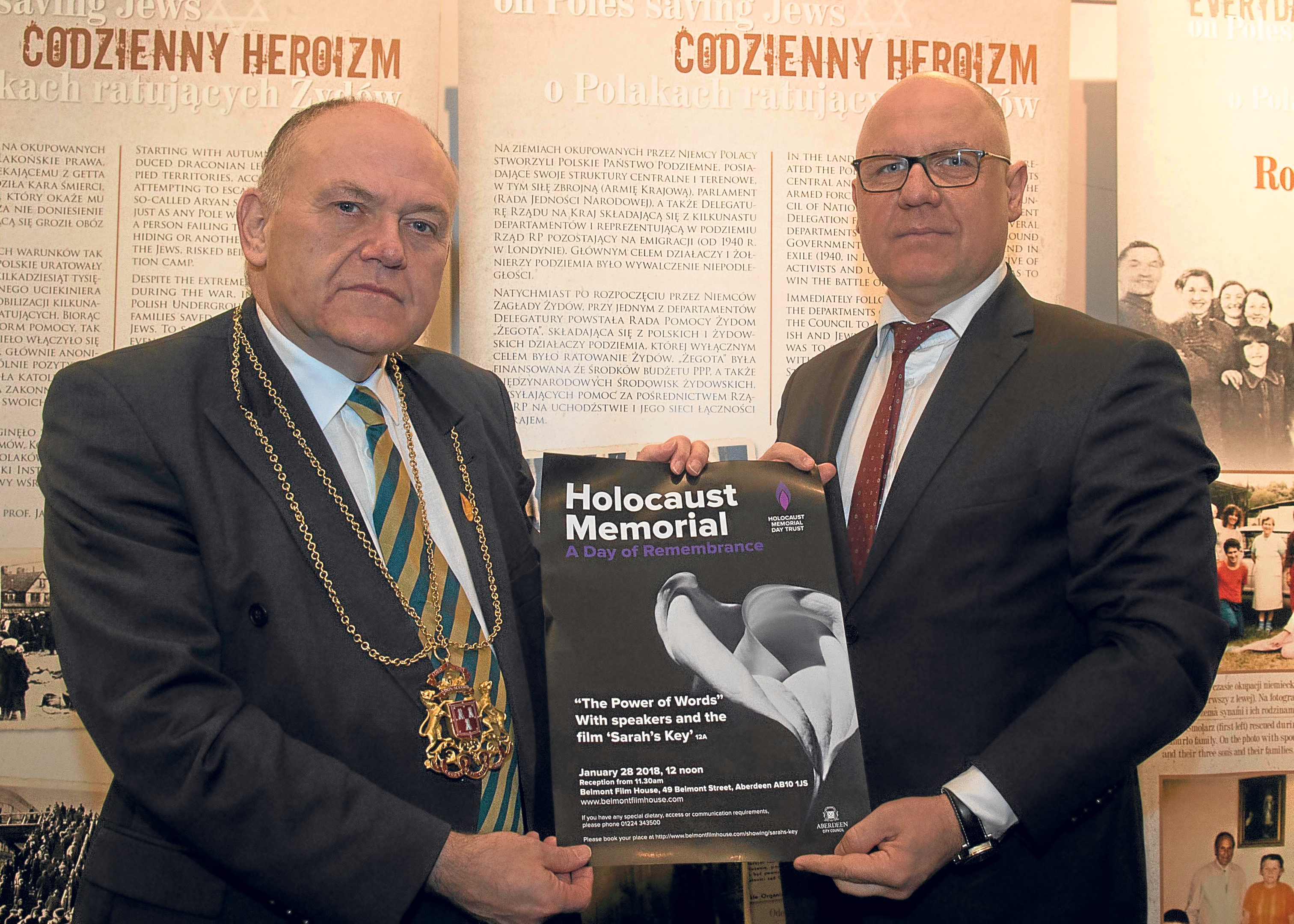 Lord Provost of Aberdeen Barney Crockett with Ireneusz Truszkowski, Consul General of the Republic of Poland.