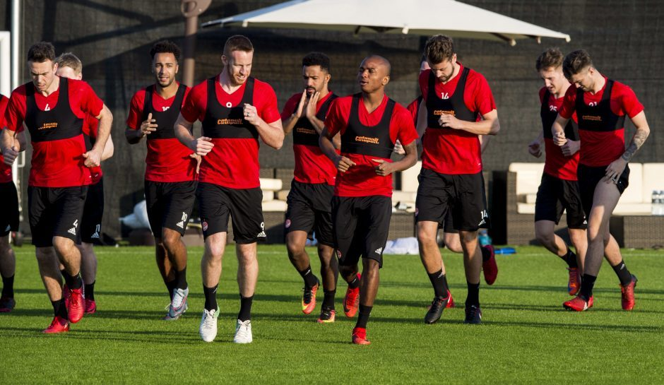 Aberdeen's Chidi Nwakali (centre right) and Adam Rooney (centre left) at training.