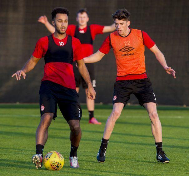 Aberdeen's Nicky Maynard (L) and Ryan Christie at training.