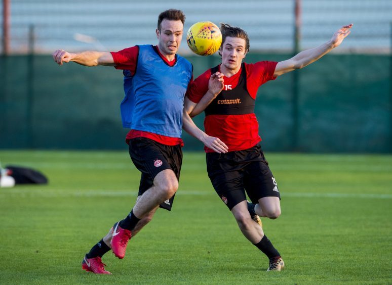 Aberdeen's Andy Considine (L) and Scott Wright at training.