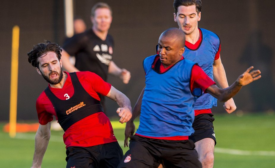 Aberdeen's Chidi Nwakali and Graeme Shinnie at training.