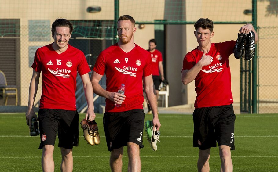 (L-R) Aberdeen's Scott Wright, Adam Rooney, and Ryan Christie at training.