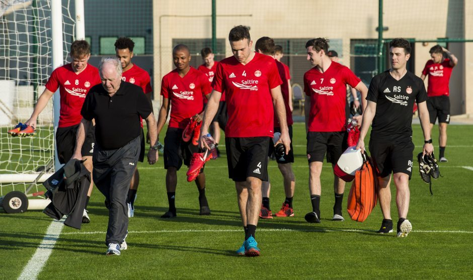 The Aberdeen players at training.