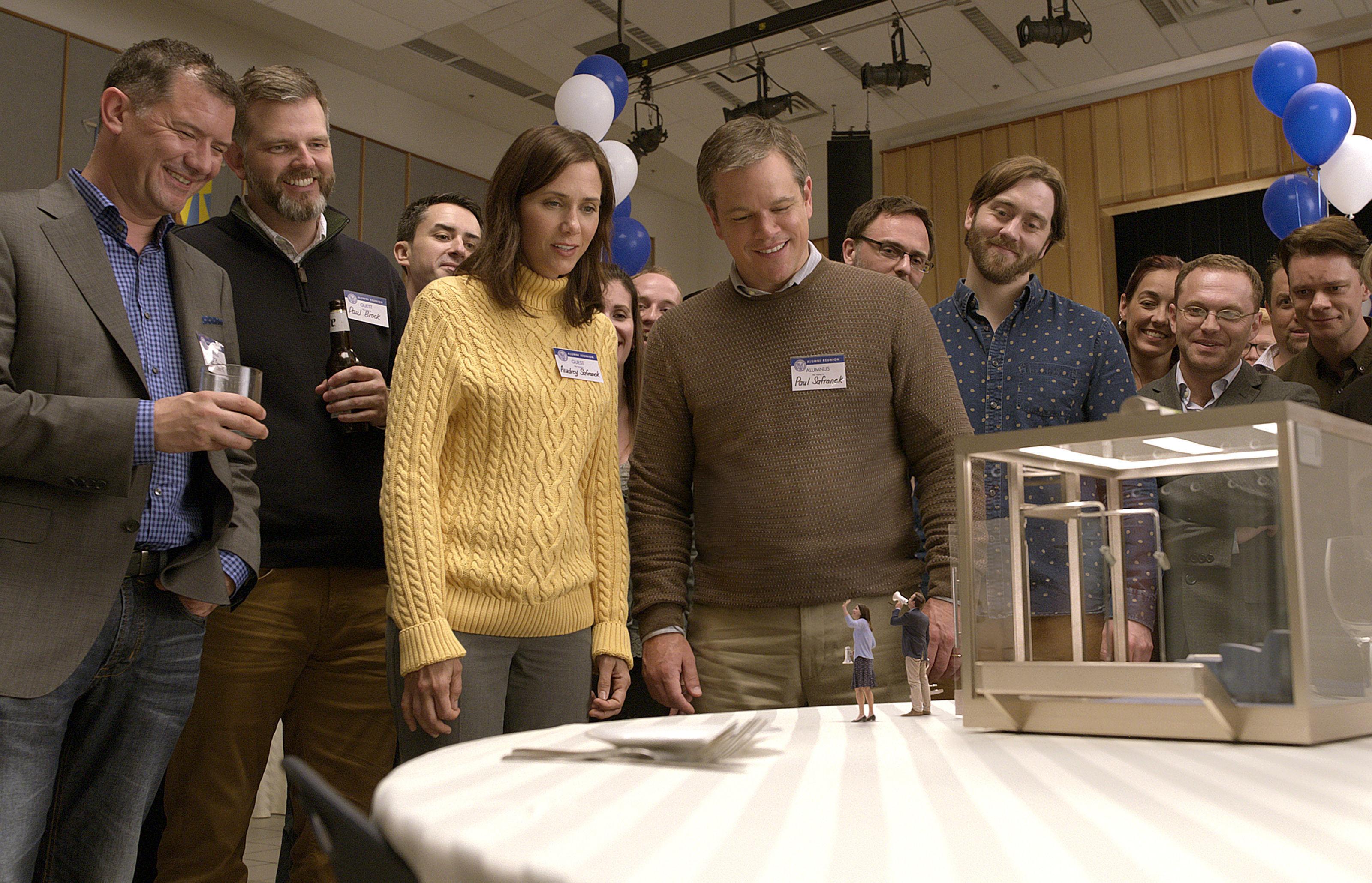 Kristen Wiig as Audrey Safranek, Matt Damon as Paul Safranek, Maribeth Monroe as Carol Johnson and Jason Sudeikis as Dave Johnson.