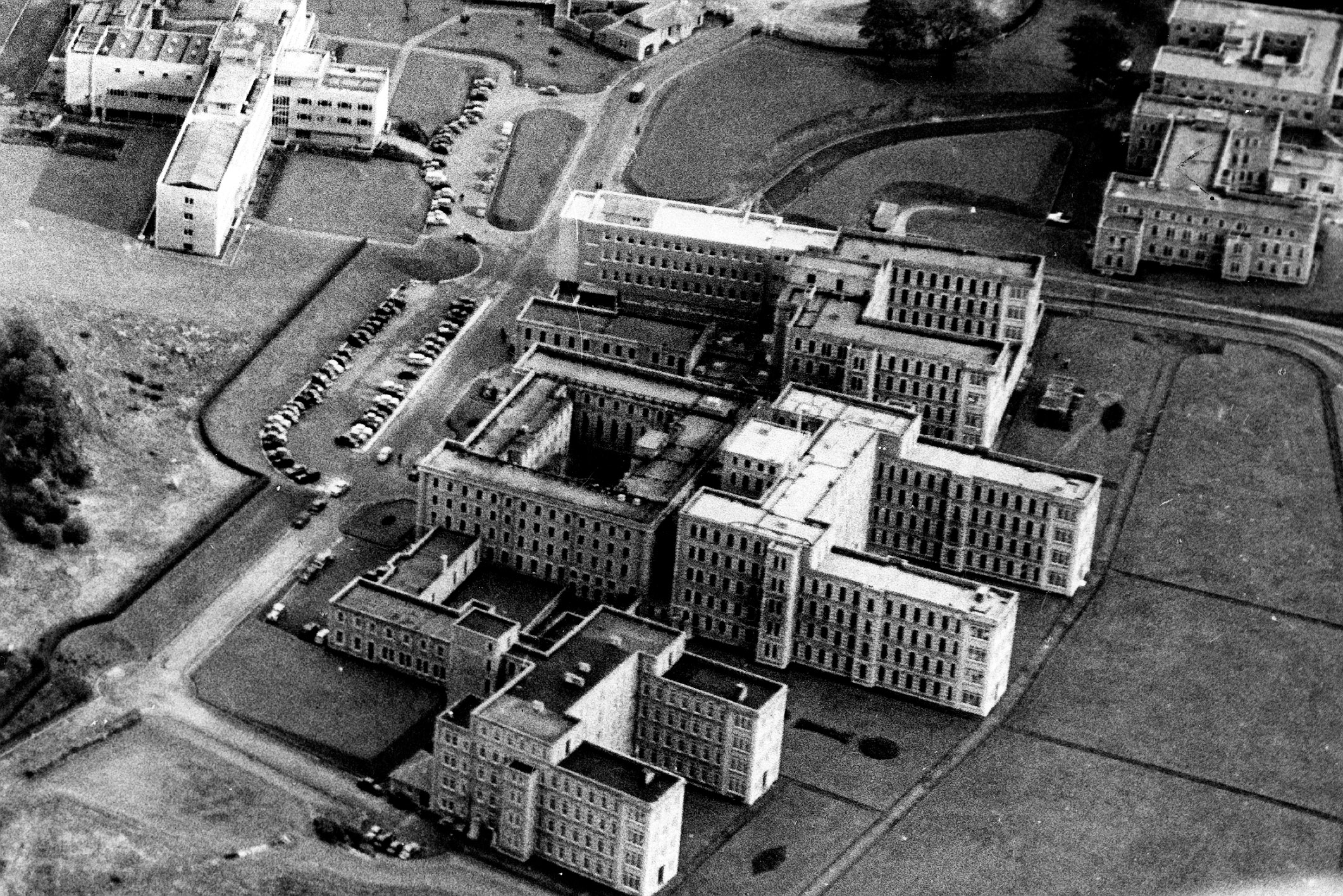 This shows the Aberdeen Royal Infirmary site before undergoing its expansion in 1967.