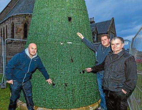 Andrew Murray, Adam Murray and Alan Cruickshank with the damaged tree.