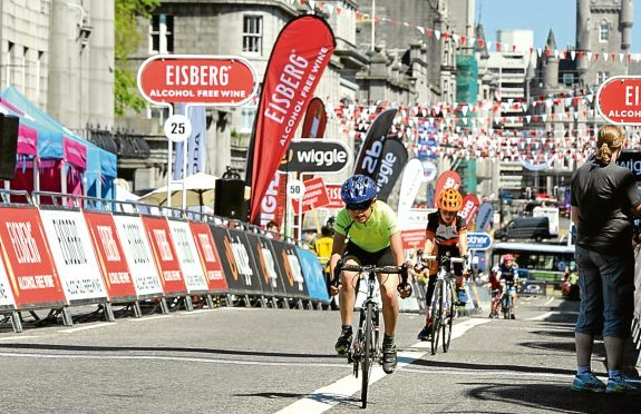 The Tour Series cycle event in Aberdeen.