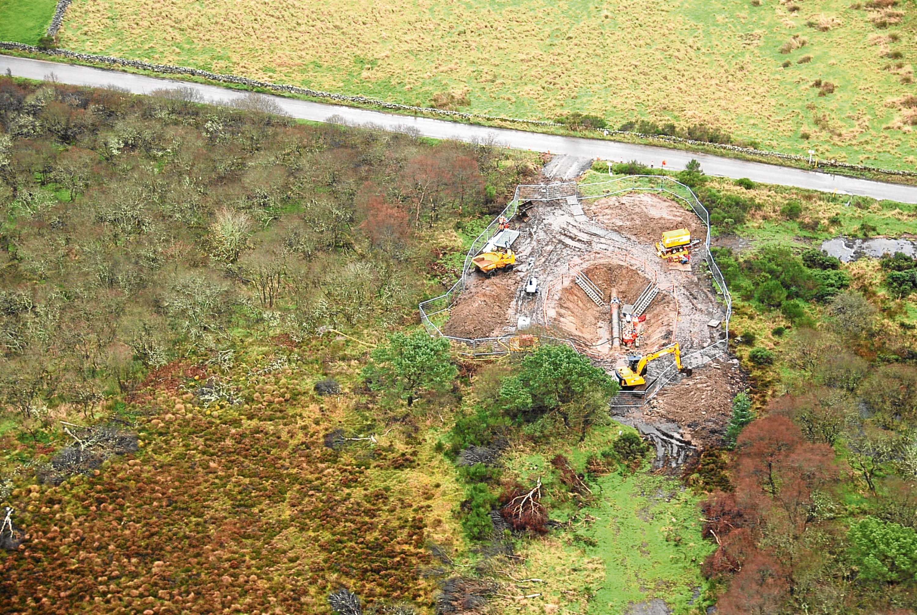 An aerial view of work on the Forties Pipeline.