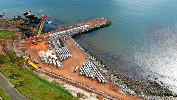 The new harbour at Nigg Bay under construction.