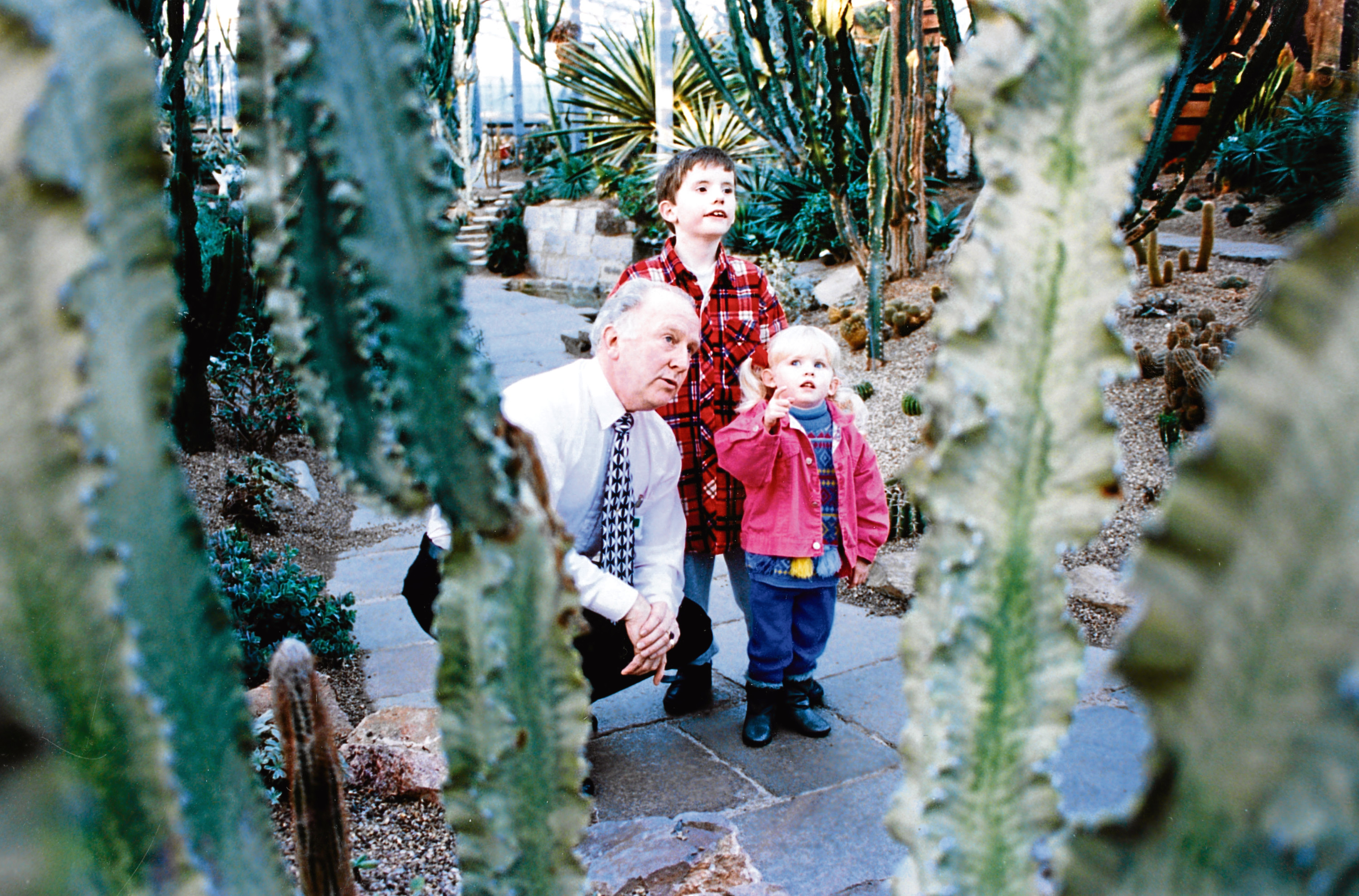 1994: George Park shows Quintos Henderson, 8, and his sister Gemma, 3, from Maud, round the Giant Cactus House in the Winter Gardens.