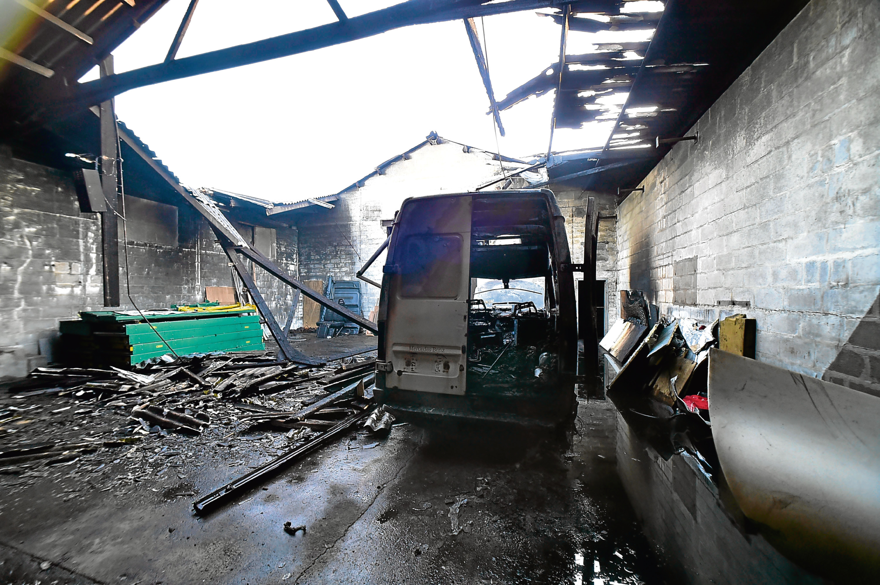 The fire ripped through the outbuilding in Rothienorman