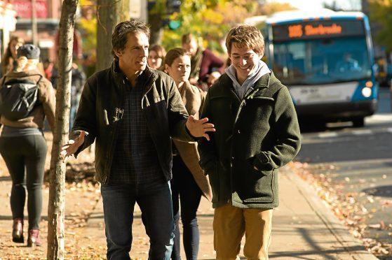 Ben Stiller as Brad Sloan and Austin Abrams as Troy Sloan.