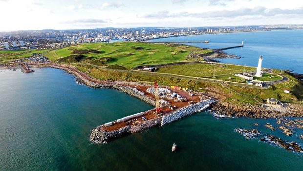 The harbour expansion is under way at Bay of Nigg.