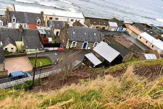 The landslide at Gardenstown.