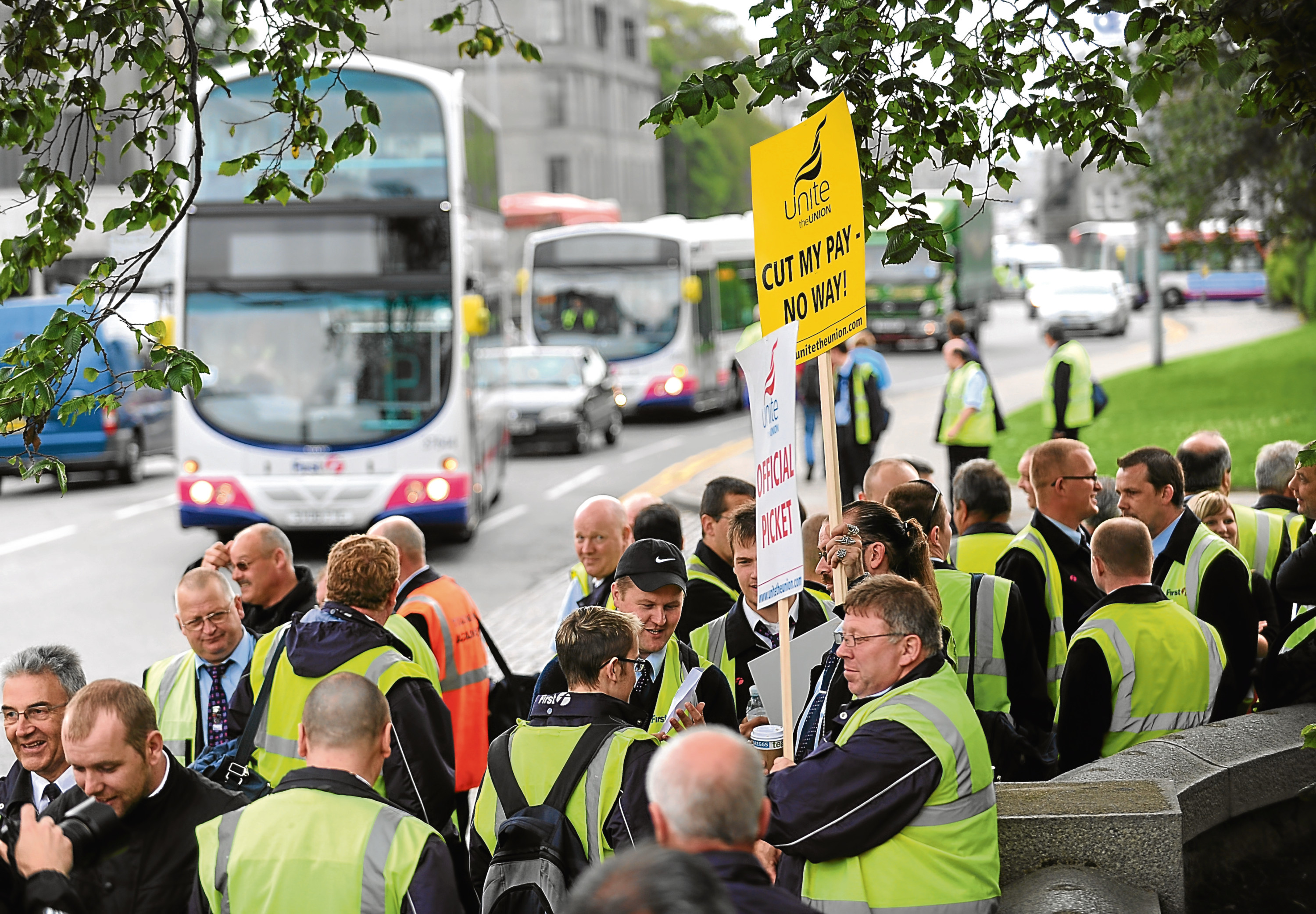 Striking First Aberdeen staff on the picket line during a dispute in 2009.