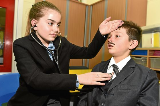 Maira Wood, 11, and Enzo Zambuto, seven.