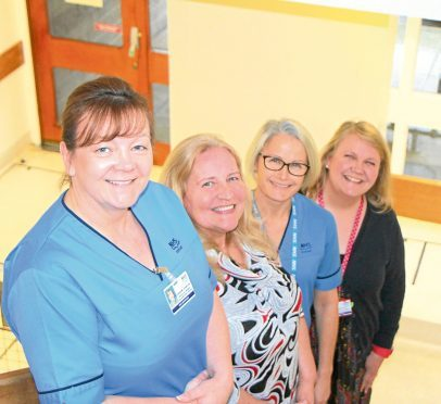 From left, specialist midwife for substance misuse Lorraine Johnston, midwifery manager Lynn Cameron, midwife for substance misuse service Tracey Scorgie, specialist  midwife for public protection Jenni Smith.