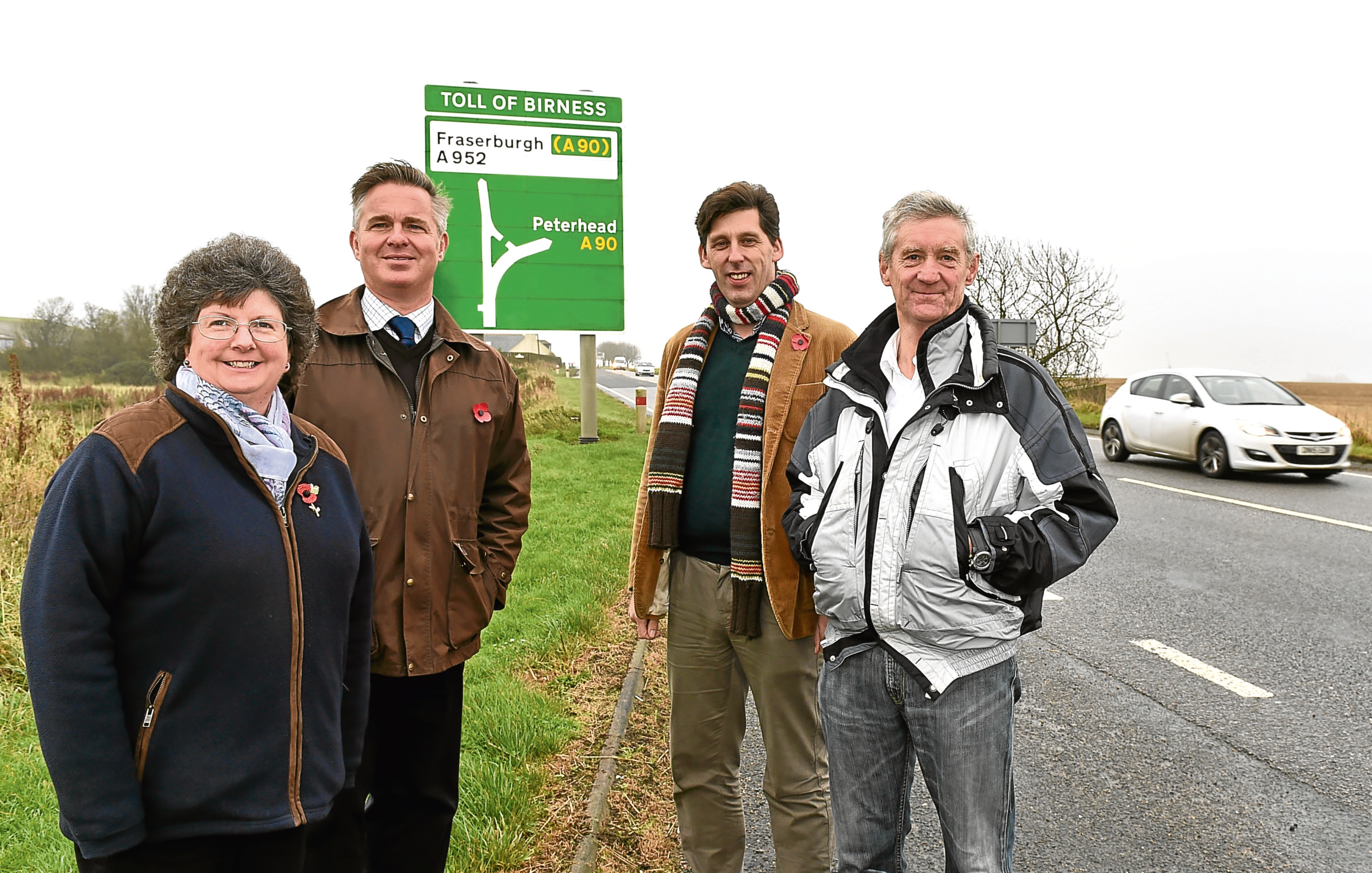 From left, Cllr Gillian Owen, Colin Clark, Ian Duncan and Peter Chapman at the Toll of Birness junction where they launched a funding proposal to dual the A90 as far as Ellon.